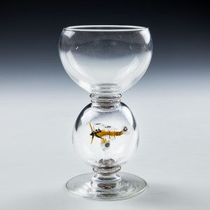 A Roemer Glass With Lampwork Biplane c1955