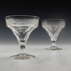 Pair John Walsh Cut And Engraved Champagne Glasses c1940 Was £60