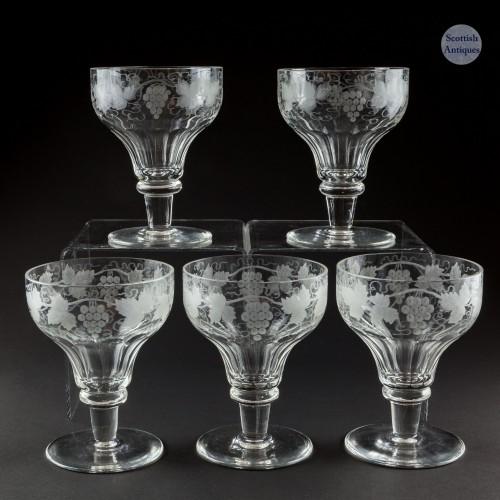 Five Vintage Glass Rummers c1930