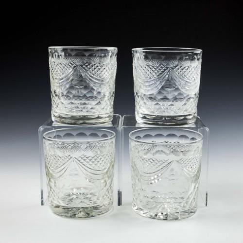 Four Richardson Cut Glass Whisky Tumblers c1930