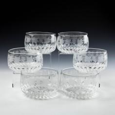 Six Engraved Cut Crystal Finger Bowls