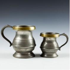 Two Loftus Brass Rim Pewter Bulbous Tavern Measures c1880
