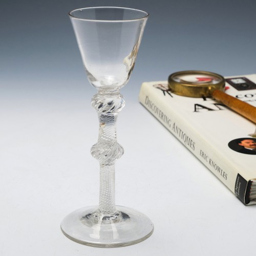 18th Century Double Knop Air Twist Wine Glass c1750