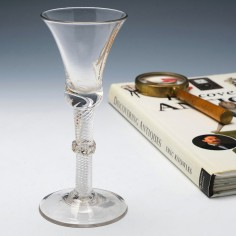18th Century Vermicular Collar Multi Series Air Twist Wine Glass c1750
