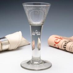 German Wine Glass With Air Beaded Stem c1770