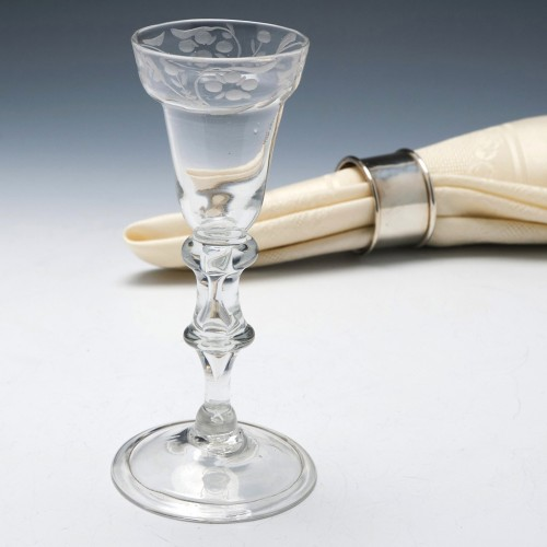 Very Rare Wheel Engraved Balustroid Stem Wine Glass c1740
