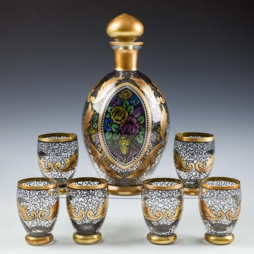 Rare Hermann Pautsch Decorated Mulhaus Glass Decanter Set c 1920