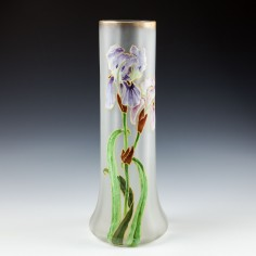 Tall Legras Vase Enamelled With Irises c1898