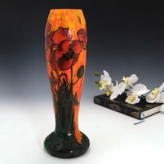 A Legras Vase Enamelled with Poppies c1920