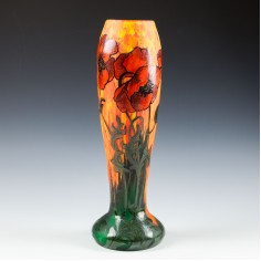 A Legras Vase Enamelled with Poppies c1910