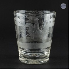 Bohemian Engraved Glass Tumbler Depicting Hunting Scene c1770