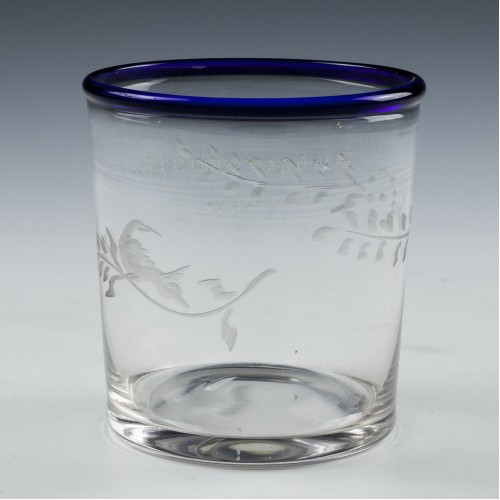 Engraved Blue Rim Glass Tumbler c1835