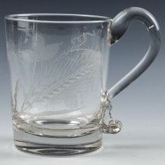 Engraved Georgian Glass Tankard c1830