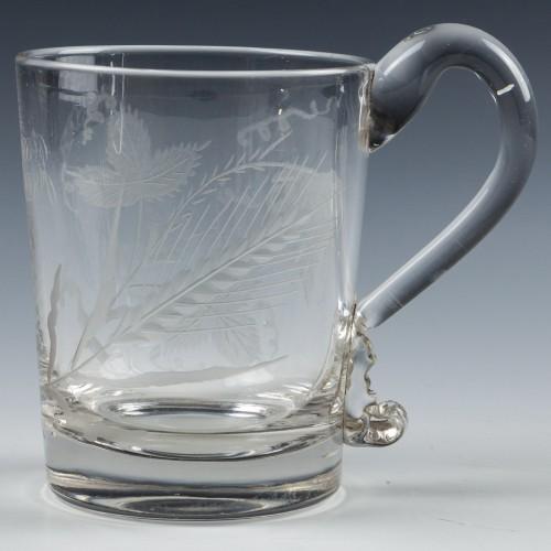 Engraved Georgian Glass Tankard c1830
