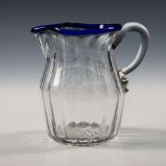 A Georgian Blue Rimmed Ribbed Glass Jug c1790