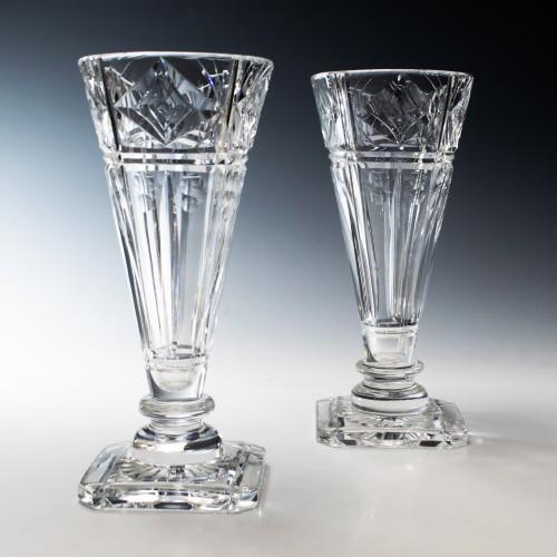 Pair of Stuart Crystal Art Deco Vases c1935