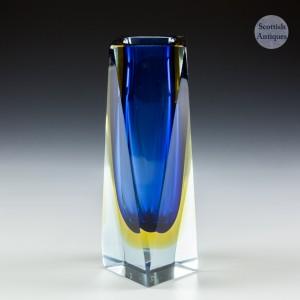 A Madruzzato Faceted Murano Sommerso Glass Vase c1960