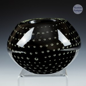 A Signed Experimental Mdina  Controlled Bubble Bowl by F Wild