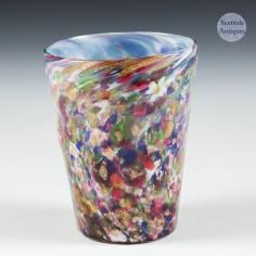 An English Victorian Spatter Glass Beaker with Aventurine  c1890