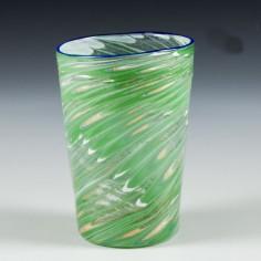 A French Enamelled Glass Beaker Applied  Blue Rim c1900
