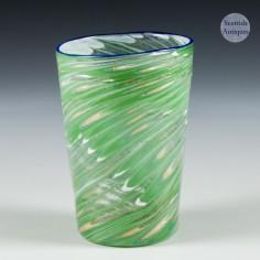 A French Enamelled Glass Beaker Apllied  Blue Rim c1900