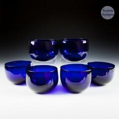 Six Bristol Indigo Blue Finger Bowls c1840