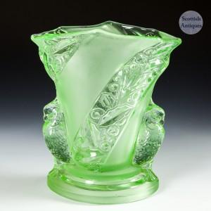 Brockwitz Art Deco Vaseline Parakeet Vase c1930s