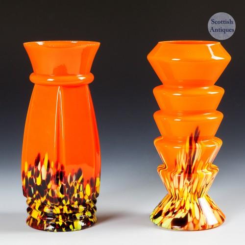 Two Kralik Orange Spatter Vases c1935