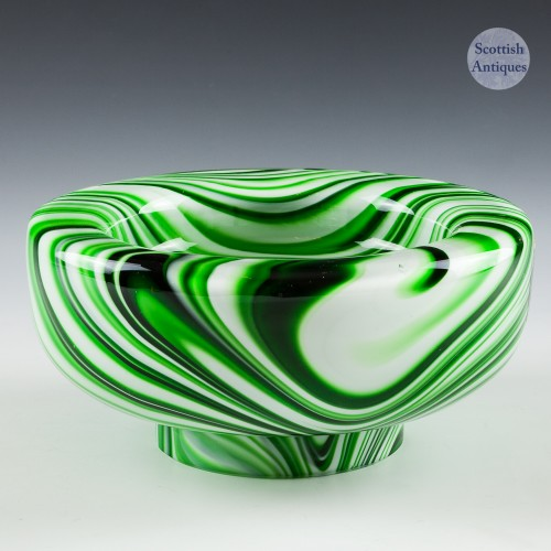 A Vintage Carlo Moretti Murano Green Marbled  Bowl