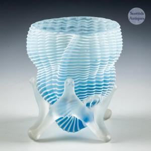 Victorian Threaded Glass Cornucopia - c1895