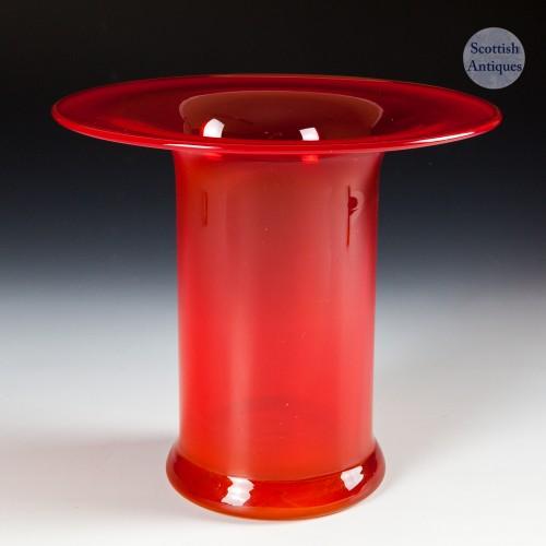 Dartington Flame Red Top Hat Vase 1968