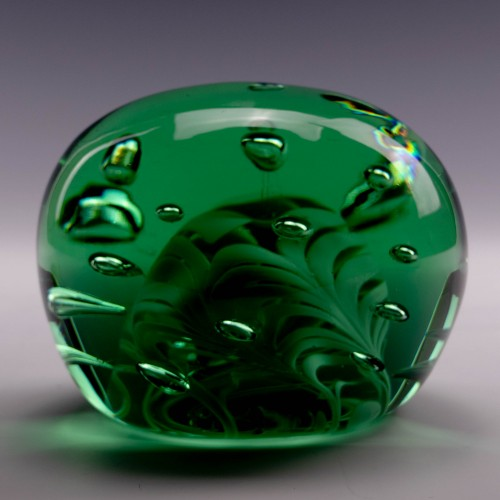 A Large and Very Rare Victorian Glass Dump with Internal White Trails and Bubbles c1880