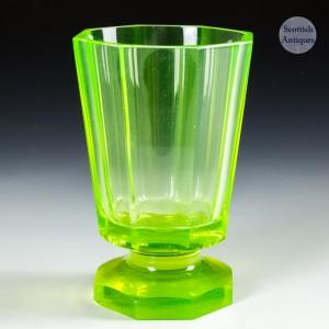 A Uranium Glass Biedermeier Beaker c1880