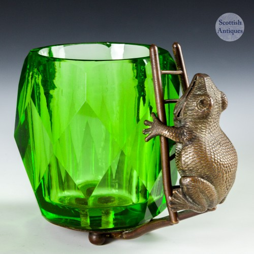 A French Glass Toothpick Holder With Metal Frog c1930