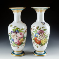 A Pair of Baccarat Opaline Flower Vases  c1850