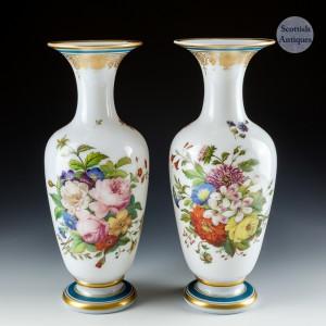 A Pair of Baccarat Opaline Flower Vases  c1850