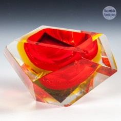 Red Madruzzuto Sommerso Facet Cut Bowl c1965