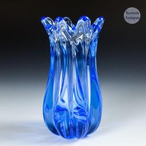 Whitefriars Sky Blue Eight Footed Ridge Vase c1970