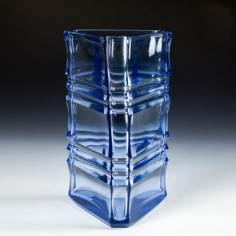 A Scandinavian  Cut Glass Banded Vase c1960