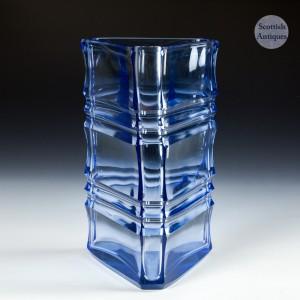 A Scandinavian  Cut Glass Banded Vase c1960