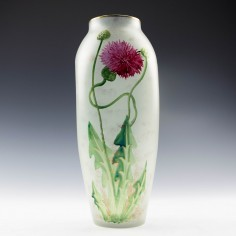 An Enamelled Satin Glass Red Flower Vase c1920