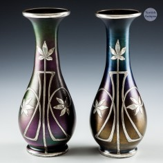 A Pair of Loetz Silver Overlay Rubin Glass Vases c1898