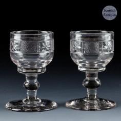 A Pair of Regency Cut Dram Glasses c1830