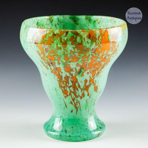 A Czech Monart Style Chryophase Glass Vase c1930