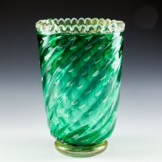 A Barovier & Toso Bullicante Green Vase with Aventurine c1950