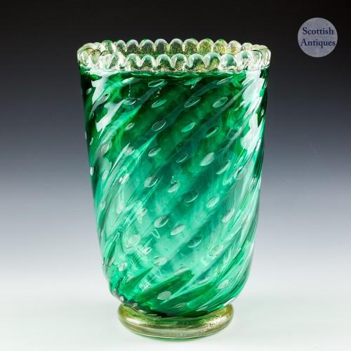 A Barovier & Toso Bullicante Green Vase with Aventurine c1950