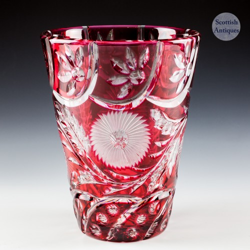 A Stevens And Williams Red Cased Cut Glass Vase c1930