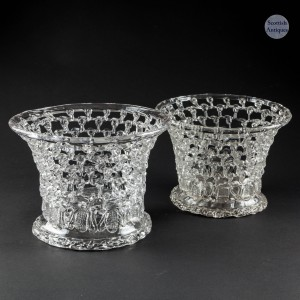 Pair of  Bristol 18th Century Lead Glass Baskets c1780