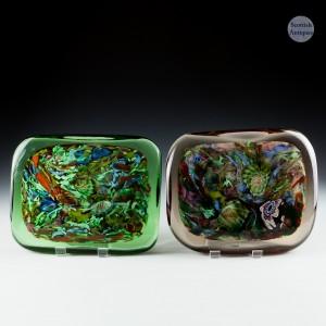 Pair of  Arte Vetraria Muranese AVeM Tutti Frutti Push Pull Door Handle Paperweights  c1950