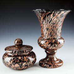 V Nason Avventurina Trinket Box and Footed Vase c1980
